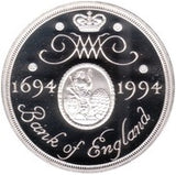 1994 Silver Proof Two-pound Coin Commemorating the Tercentenary of the Bank of England