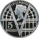 2001 - 5 Pounds - Elizabeth II Queen Victoria Silver Proof Victorian Anniversary Crown