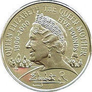 2000 - 5 Pounds - Elizabeth II Queen Mother Silver Piedfort Proof