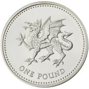 1 Pound - Elizabeth II Welsh Dragon; Silver Proof