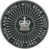 1993 5 Pounds Elizabeth II Coronation Jubilee Silver Proof