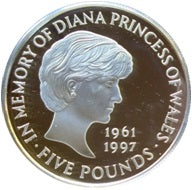 925 Proof £5 Diana Princess of Wales Silver Proof Memorial Coin