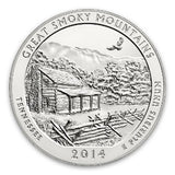 2014 Great Smoky Mountains 5 Oz Silver ATB Coin