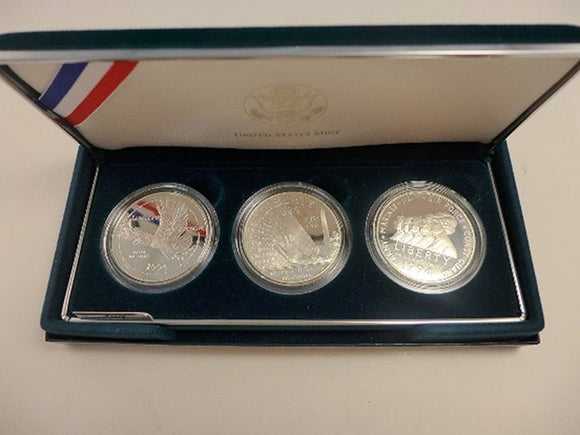 1994 P Commemorative Set Veterans Proof Silver Dollars Set of 3 Coins