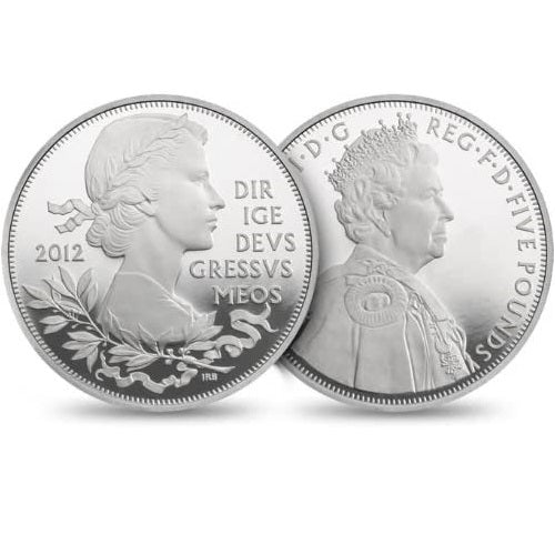 2012 The Official Queen's Diamond Jubilee UK £5 Silver Proof Piedfort Coin