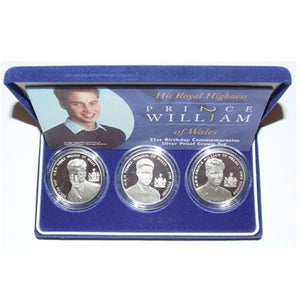 2003 Silver Proof 3 Coin Set Prince William 21st Birthday