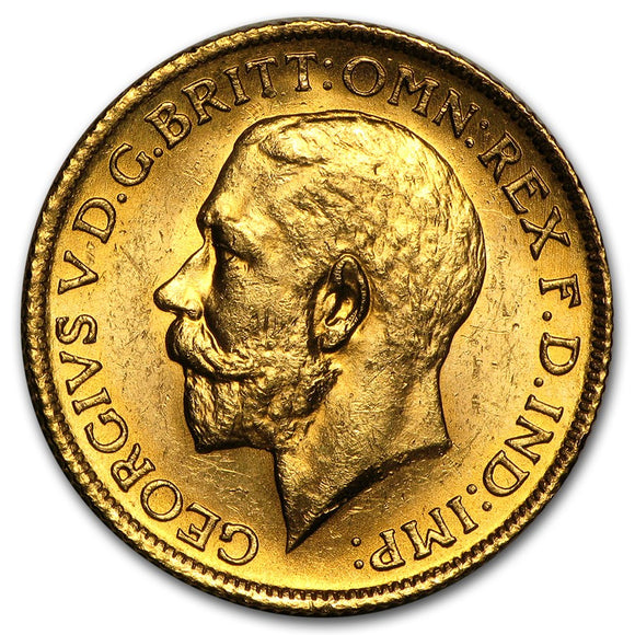 Gold Half Sovereign - George V - Large Head - 1911-1928