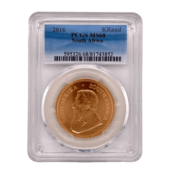 PCGS MS68 Certified - 1oz Gold Krugerrand Coin 2016