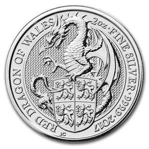 2017 Queens Beast - Welsh Red Dragon 2oz Silver Bullion Coin
