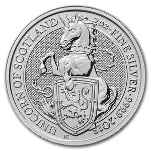 2018 Queens Beast - Unicorn of Scotland 2oz Silver Bullion Coin