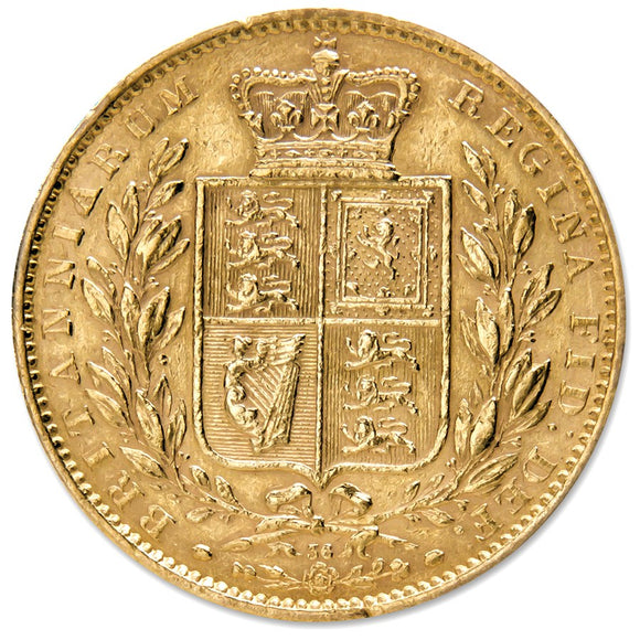 Gold Sovereign - Victoria - Young Head Shield Reverse