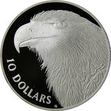 925 10 Dollars Elizabeth II 3rd Portrait Wedge-tailed Eagle Piedfort
