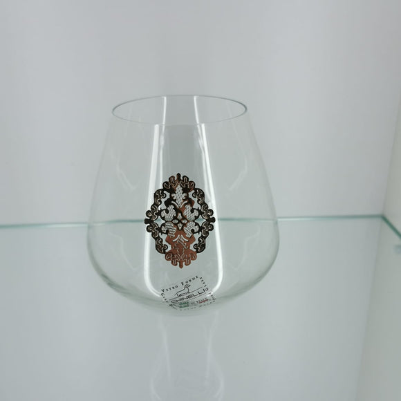 Chinelli Brandy Glasses Leaf Design Rose Gold Set of 6