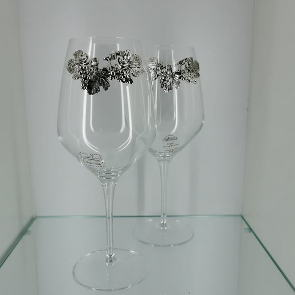 Chinelli Wine Glasses Crystal Leaf and Berries Design Set of 6