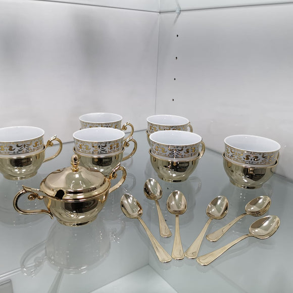 Chinelli Gold and White Tea Set