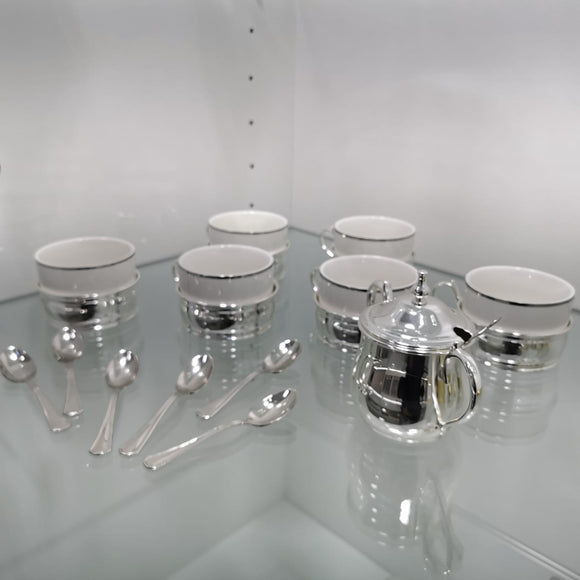 Chinelli Silver and White Tea Set