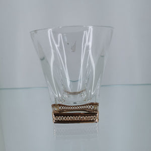 Chinelli Low ball Whisky Glasses Trellis Gold Design Set of 6