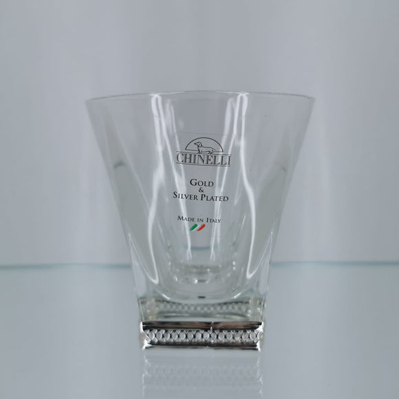 Chinelli Low ball Whisky Glasses Trellis Silver Design Set of 6