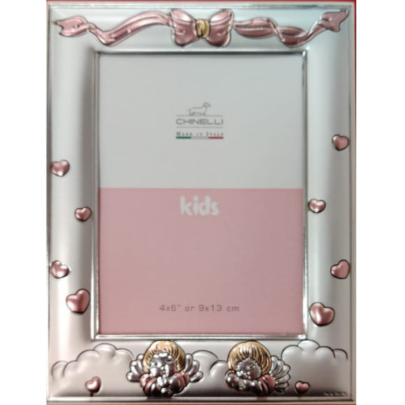 Chinelli Small Pink Hearts and Ribbon Photo Frame 4x6 Inch Or 9x13cm