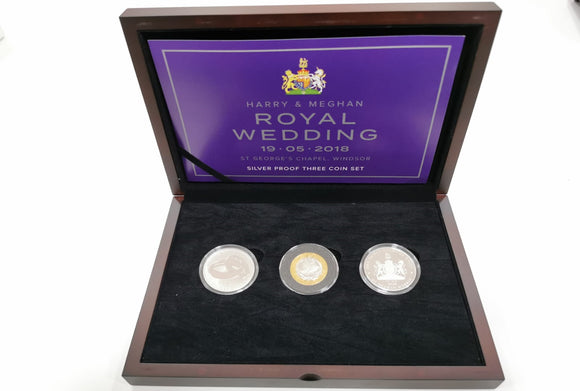 2018 Silver Proof 3 Coin Set Harry & Meghan Wedding
