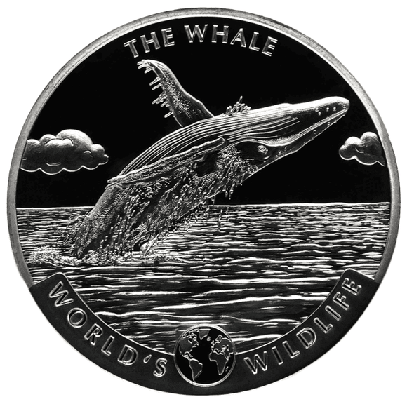 2020 Congo Worlds Wildlife Whale 1oz Silver Bullion Coin
