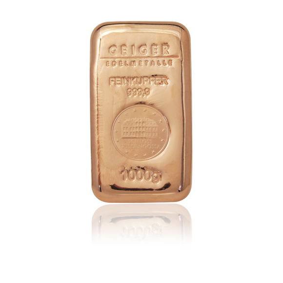 1kg .999 Copper Cast Bullion Bar