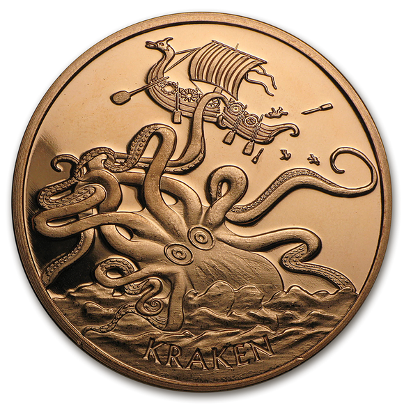 1 oz Copper Round - Kraken (Anonymous Mint)