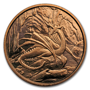 1 oz Copper Round - Nordic Creatures: Nidhoggr Dragon