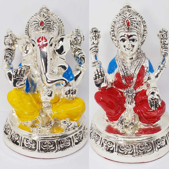 Goddess Lakshmi & Lord Ganesha Silver Plated Hindu Indian Religious Ornament