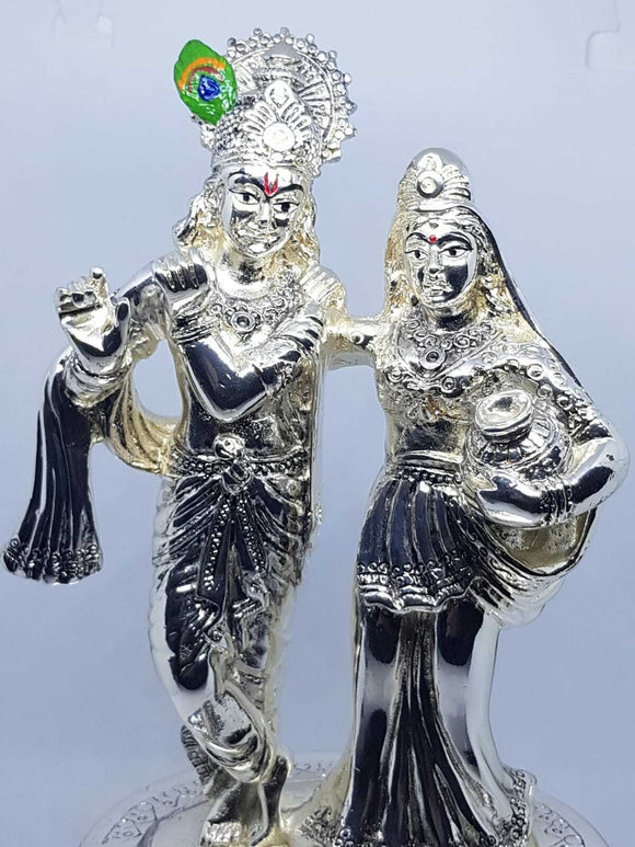 Lord Krishna Lady Radha Silver Plated Hindu Indian Religious Ornament