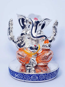 Lord Ganesha with base Silver Plated Hindu Indian Religious Ornament