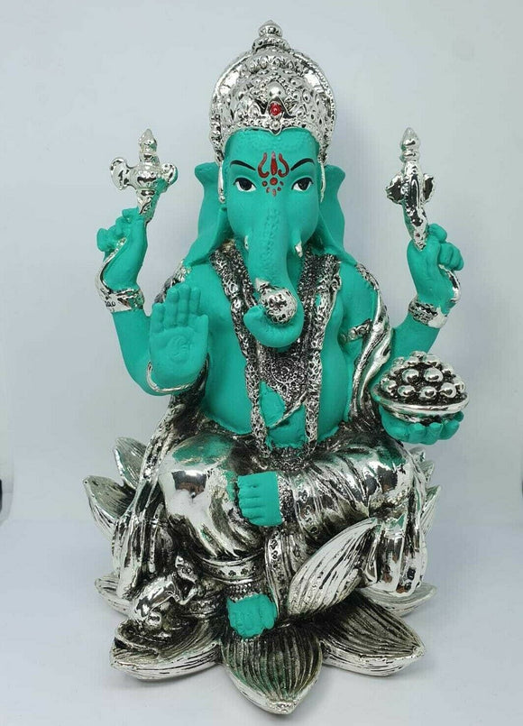 Kamal Lord Ganesha Coloured and Silver Plated Hindu Indian Religious Ornament