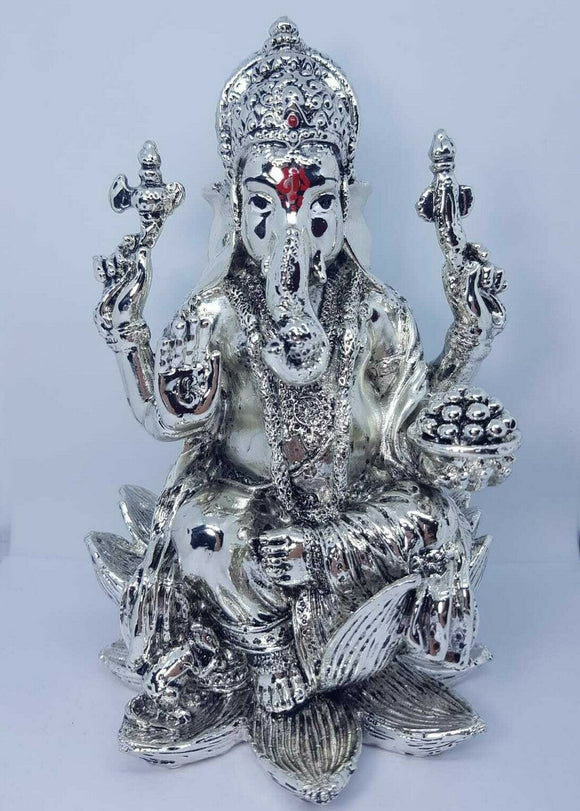 Kamal Lord Ganesha Silver Plated Hindu Indian Religious Ornament