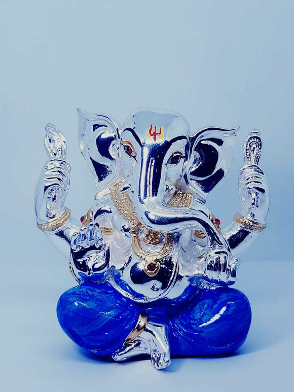 Lord Ganesha Blue Silver Plated Hindu Indian Religious Ornament