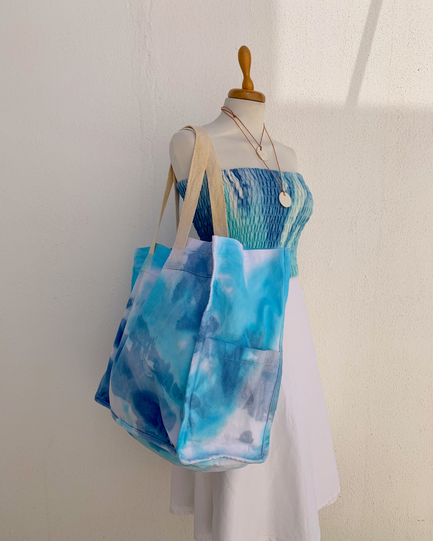 HAND-PAINTED LARGE SHOPPING BAG - turquoise