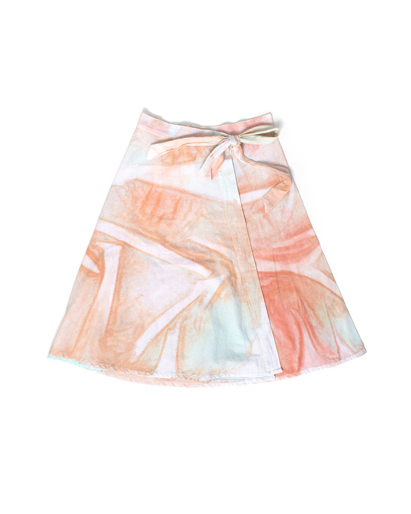 HAND-PAINTED WRAP SKIRT - pink