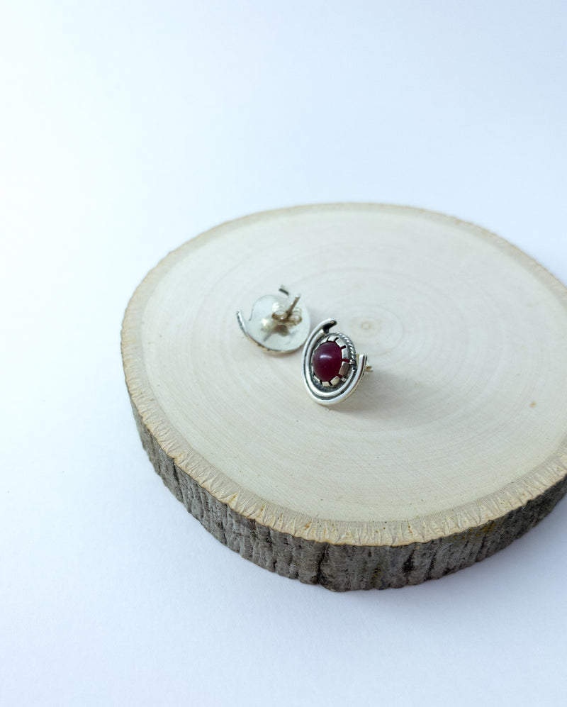 HARVEST MOON CRYSTAL EARRINGS - rubellite