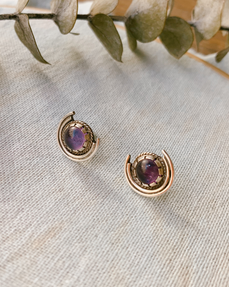HARVEST MOON CRYSTAL EARRINGS - amethyst