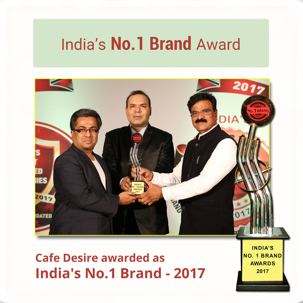 cafe desire awarded as india's number one brand