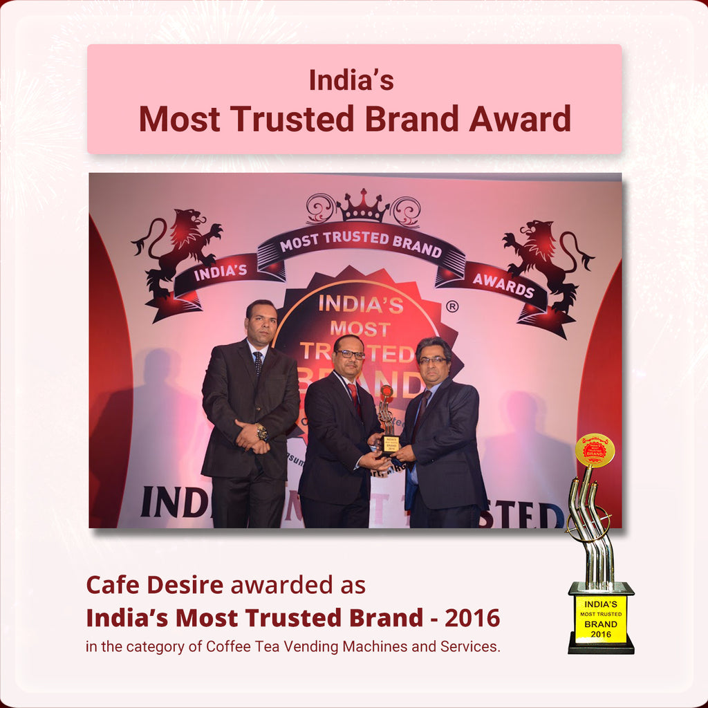 cafe desire awarded as india's most trusted brand