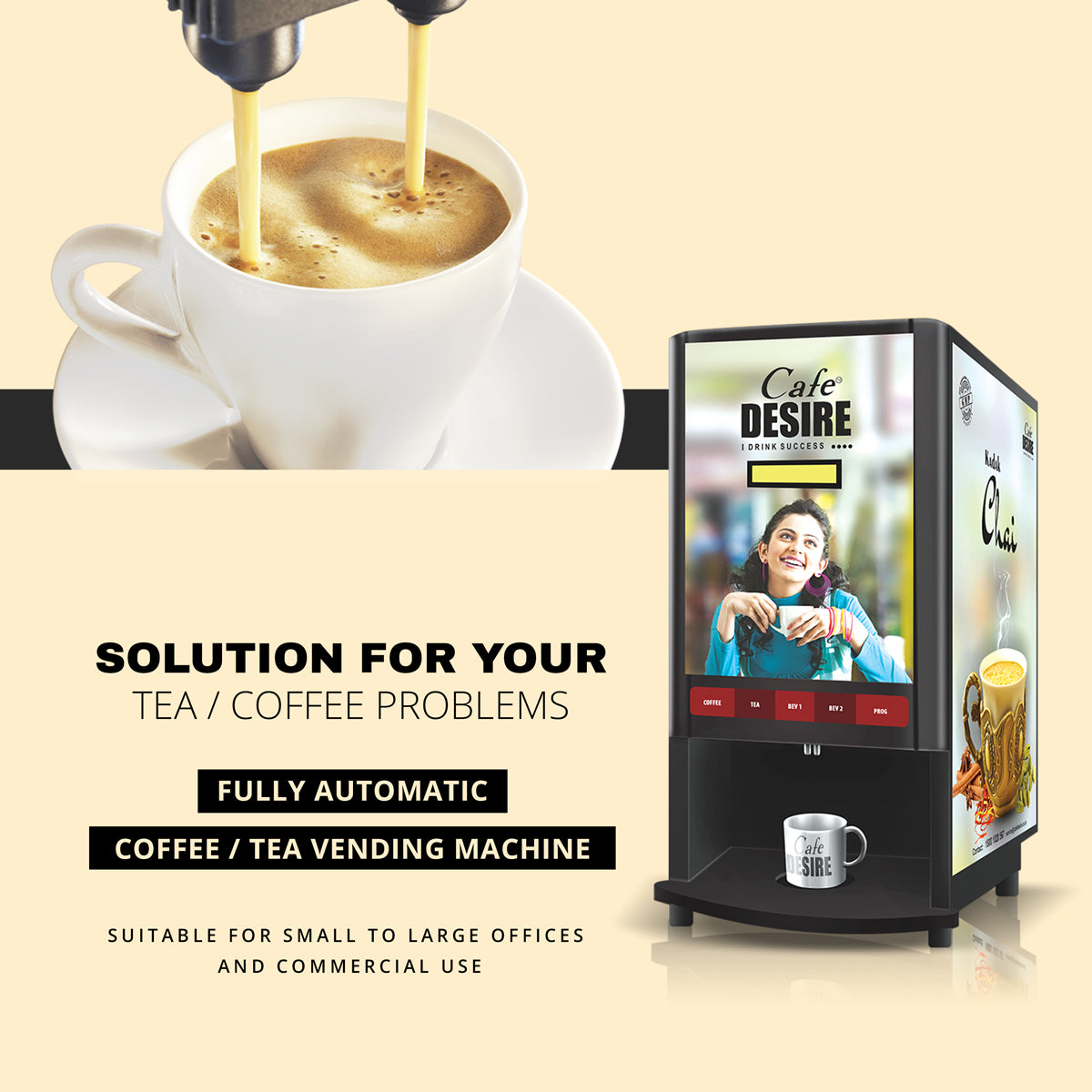 Coffee Machine Tea Machine - 2-in-1 Fully Automatic Tea Coffee Vending Machine
