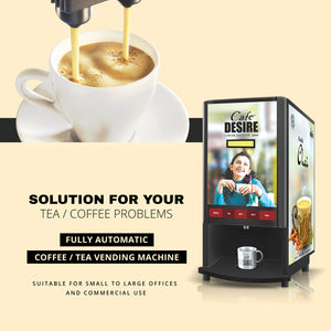 Coffee Machine 2 Lane | Two Beverage Options | Fully Automatic Tea & Coffee Vending Machine | For Offices, Shops and Smart Homes | Make 2 Varieties of Coffee Tea with Premix | No Milk, Tea, Coffee Powder Required