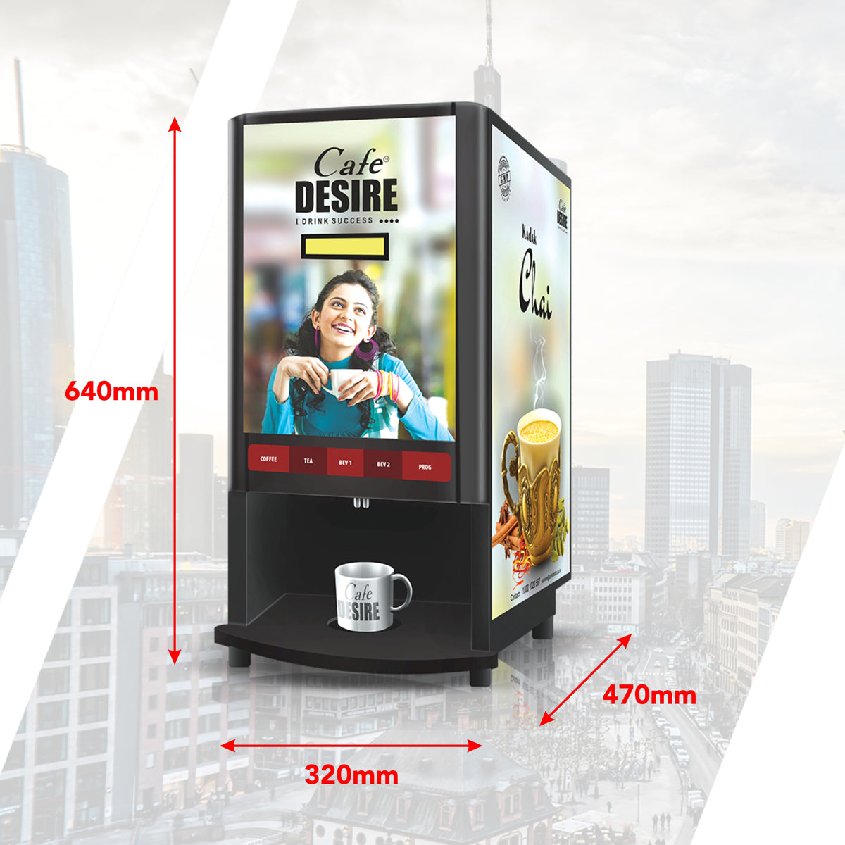 Coffee Machine 4 Lane | Four Beverage Options | Fully Automatic Tea & Coffee Vending Machine | For Offices, Shops and Smart Homes | Make 4 Varieties of Coffee Tea with Premix | No Milk, Tea, Coffee Powder Required