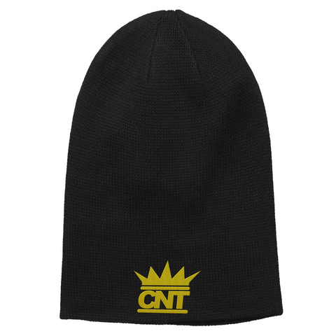 Black Beanie with Gold Embroidered CNT Logo