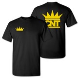 Black T-shirt with Gold Crown Pocket Print