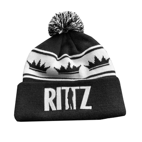 Black and White Striped Knit Beanie with Pom and Rittz Logo