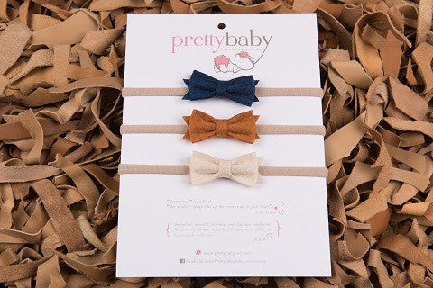 Felt Bow Headband Set 3pk
