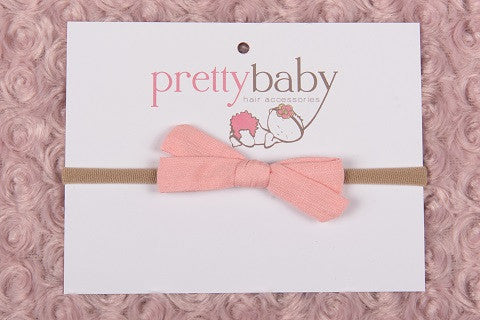 Blush Pink Linen Bow Headband