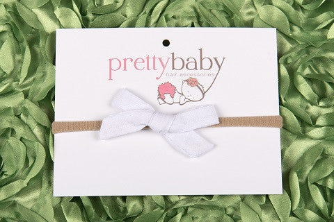 white bow baby headband, white bow baby hair band, fabric bow, white linen bow, skinny headband, white, ireland, uk