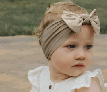 Oat Top Knot Bow Baby Headband